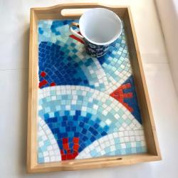 """Изделие """"Ночник"""", ручная работа сделанная из мозаики, с красивейшим узором в виде водорослей."""